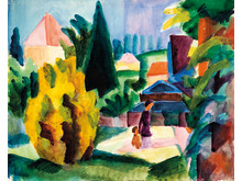 August Macke: Im Schlossgarten von Oberhofen (1914). Aquarell auf Papier. Kunstmuseum Bern, Legat Cornelius Gurlitt  2014.