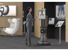 Ava 500 videokonferensrobot i utställningsmiljö