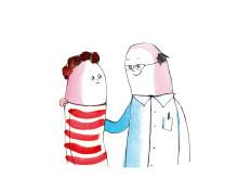 Let's talk, illustration dialog patient och läkare