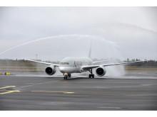 Vattensalut för Qatar Airways