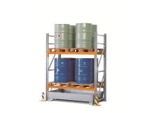 Kemikaliehylla för säker kemikalieförvaring.