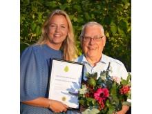 HSB brf Södra Milstolpens ordförande Bo Fogelquist tilldelas diplom för vinnare av HSB Götas Klimatpris 2018