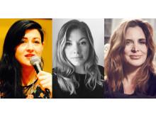 De första talarna är klara för Meg16. Från vänster: Cory Haik, Kaylee King-Balentine och Janine di Giovanni