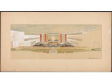 Utkast til innredning av Sikkerhetsrådets sal, 1949, arkitekt Arnstein Arneberg.