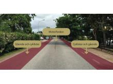 Så här ser lösningen med bymiljöväg ut på Smedbyvägen.