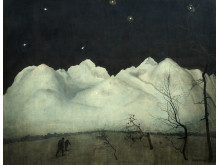 Vinternatt i Rondane,/Winter Night in the Mountains,  olje på lerret, 1914, Harald Sohlberg-