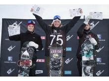 Emil André Ulsletten vant konkurransen foran Isak Ulstein og Markus Rustad. Foto: Daniel Tengs / Snowboardforbundet