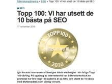 MyNewsdesk får bäst betyg på SEO - Sveriges 100 bästa sajter