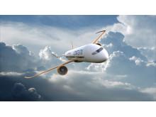 En möjlig framtida flygplansdesign (utan text)