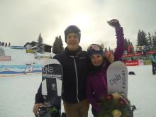 Helene Olafsen og Stian Sivertzen fra Montafon Fis WC. Foto: Snowboardforbundet