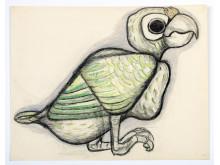 Tyra Lundgren - teckning, mexikansk fågel, utan årtal