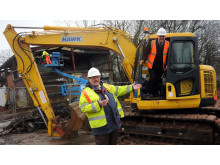 Cllr Roger Horton (left) from Centro and Terry Oliver of London Midland launch work on the new Park and Ride facility at Yardley Wood Station