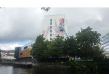 Fintan Magee in progress for No Limit Street Art Borås