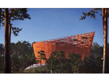 """Vinnare. """"Lyra"""", skulptur i skogsmark av Lars Anfinset, Ett Ark Arkitektur."""
