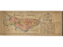 Karta över kungliga amiralitetsplatsen på Djurgården. Tillaeus, Petrus 1736.