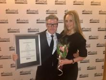 Hotelldirektør Jarle Moen og Salgsdirektør Andrea Belck-Olsen tok imot den gjeve prisen som Årets Veiviser under HSMAI prisene