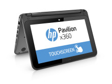 HP Pavilion x360 Right facing with product name on screen