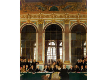 Foredrag_Den fejlslagne fred. Foto_William Orpen. The Signing of Peace in the Hall of Mirrors_Versailles_28th June 1919. Kilde WikiCommons_Public Domain