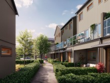 Brf Elins Trädgårdar - 3D-bild av flerbostadshus från innergård.