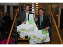 Fundsurf, vinnare i Kategorin: Webb, Mjukvara & Media samt totalvinnare