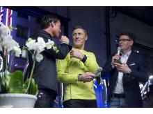 Konferencier Mats Persson intervjuar Jonas Colting och Börje Salming