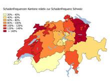 Marderschaden - Frequenzen der Kantone relativ zur Frequenz Schweiz