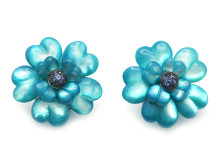 Moderna 14/6, Nr: 310, ANDREOLI, örhängen, 18K vitguld, blå pärlemor, 28 blå safirer