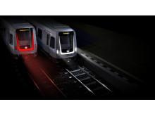 Tunnelbanetåg C30 i mörker