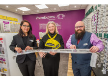 From L to R: Vision Express at Tesco Bristol Eastville optical assistant Sonal Jadav, Macular Society regional manager Judy Pride and store manager Matthew Hancock.