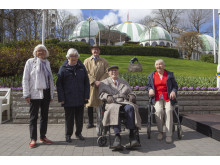 95-åringarna Ester, Kerstin, Evert, Stig och 98-åringen Maj-Britt