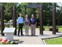 MEMORIAL GARDEN: Councillor Colin Lambert, Councillor Jacqui Beswick and Councillor Peter Rush at  Heywood Cemetery