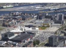 Stämpen Ungdom i Västra hamnen flygbild över nya kvarteret
