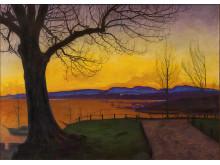 Våraften, Akershus/Spring Evening, Akershus Fortress, olje på lerret, 1913, Harald Sohlberg. Oslo kommunes kunstsamlinger