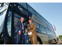 Go North East managing director Kevin Carr with Major Gary Jones - Community Engagement Officer, Fifth Fusiliers