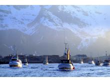 Bateaux de pêche au large des Iles Lofoten