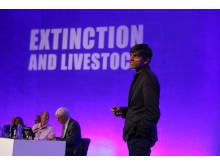 Food campaigner Professor Raj Patel speaking at the Extinction & Livestock Conference, QEII Centre, London, October 2017.