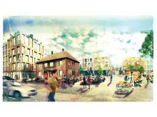 Visionsbild över kvarteret Brännaren, Sorgenfri, med Benzonhuset. Vy från Industrigatan.