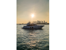 High res image - Princess Motor Yacht Sales - Princess 75 exterior low sun