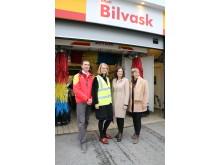 F.v. Ben Christer Forsland (retailer), Anita Bakås Sørlundsengen (retaildirektør St1 Norge), Solveig Horne (forbrukerminister), Anita Winsnes (adm.dir i Miljømerking)