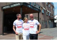 Oscar Petersson, Maria Paulsson och Erik Berna från Hotell Lundia
