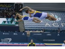 Jonas Nordfors och Måns Åberg, synkron trampolin, EM 2018