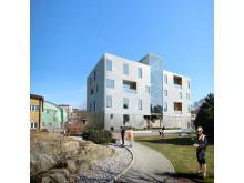 Skissbild som visar hur HSB Living Lab kommer att se ut
