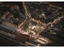 Kontrapunkter_Visionsbild_Gestaltningsförslag för Clemenstorget och Bangatan