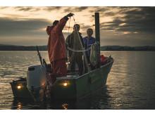 Berufsfischer Rolf Meier mit Gästen auf dem Bodensee, Ostschweiz
