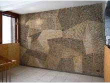 Carl Nesjar  og Inger Sitter, veggarbeid i sandblåst naturbetong, Regjeringsbygningen, 1957-59