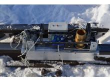 Järnvägsuppfinning framtagen av forskare vid Luleå tekniska universitet som kan mästa slitage på spår med snö och is