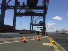 The Cavotec film crew shoot Panzerbelt at Maher Terminals in Newark, NJ #Cavotecfilm