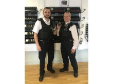 PC Nathan Cooke and PC Gemma Carlton with body worn video cameras