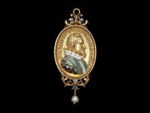 Kontrafejmedaille u. år (før 1625), guld og emalje, Jakob van Doordt / Nikolai Schwabe, cf. G 36,  JS 230