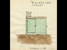 Diskbänk utan vattenkran, tecknad av Thomas, 12 år, från Närke 1942.